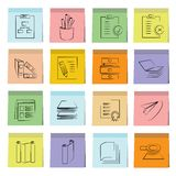 Office tools icons sticky note paper Stock Photos