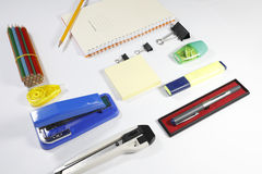 Office tools isolated on white background. Back to school, back to work Stock Photo