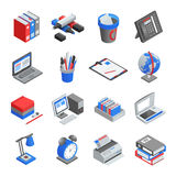 Office Tools Isometric Icons Set Stock Image