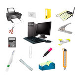 Office tools realistic icon  set Royalty Free Stock Images