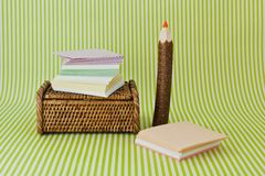 Office tools: scratch paper and pencil Stock Image