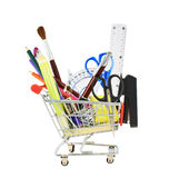 Office tools in a shopping cart Royalty Free Stock Images