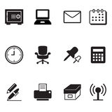 Office tools and stationery icons set Stock Images
