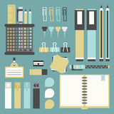 Office tools, supplies, and stationery icons set Royalty Free Stock Images
