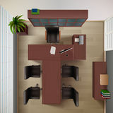 Office Top View Illustration Royalty Free Stock Photos