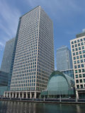 Office towers in London. Modern steel and glass office towers in Canary Wharf London royalty free stock photo