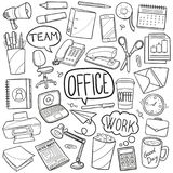 Office Traditional Doodle Icons Sketch Hand Made Design Vector vector illustration