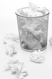 Office trash bin full of paper waste Royalty Free Stock Photos