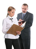 Office two workers with documents royalty free stock image