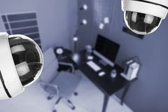 Office under CCTV cameras surveillance. Above view royalty free stock image