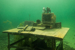 Office. Underwater office in Polish lake Stock Photography