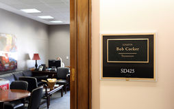 Office of United States Senator Bob Corker. Washington, DC, USA - July 18, 2017: The entrance to the office of Senator Bob Corker in Washington DC. Bob Corker is Royalty Free Stock Photos