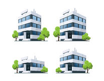 Office Vector Buildings Illustration with Trees. Four office vector buildings illustrations in perspective view with blue glass facade and green trees in cartoon Royalty Free Stock Images