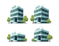 Office Vector Buildings Illustration with Trees Royalty Free Stock Image