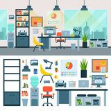 Office vector work place with computer and workers furniture table or chair in furnished business interior of cabinet. Illustration set of office furnishings royalty free illustration