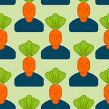 Office vegetables garden seamless pattern. Manager of carrots. V. Egetable Department at office background Royalty Free Stock Images