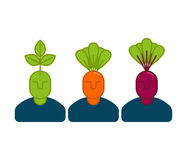 Office vegetables managers. Carrots and beets. set of office sta Stock Images