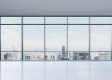 Office. View of city from wide window, 3D rendering Royalty Free Stock Images