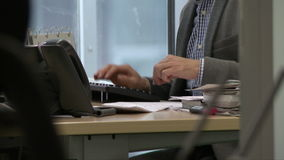 Office. View of manager working at computer stock video footage