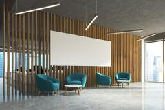 Waiting area in office blue armchairs, poster side Royalty Free Stock Photography
