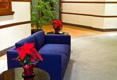 Office Waiting Room Furniture. Blue couch in a modern office building lobby with red poinsettias on two end tables Royalty Free Stock Images