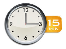 Office wall clock timer 15 minutes Royalty Free Stock Photo