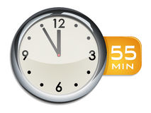 Office wall clock timer 55 minutes Royalty Free Stock Image