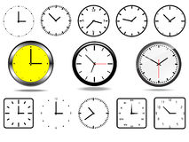 Office wall clocks, and 10 clock icons Stock Photo