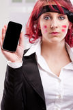 Office warrior with mobile phone Royalty Free Stock Photo