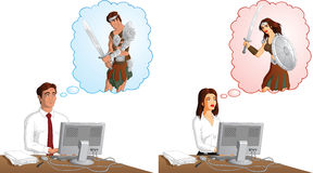Office warriors. A vector illustration of bored male and female office workers imagining themselves as strong warriors Royalty Free Stock Photo