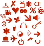 Office and web symbols set red color Stock Image