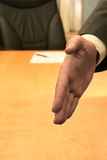Office: welcome. Business-man welcoming you with his hand Royalty Free Stock Images