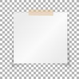 Office white paper sticky note isolated on transparent background. Post on sticky tape. Template for your projects. Vector. Illustration Royalty Free Stock Images