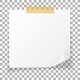 Office white paper sticky note isolated on transparent background. Post on sticky tape. Template for your projects. Vector. Illustration Royalty Free Stock Photo