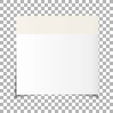 Office white paper sticky note isolated on transparent background. Post on sticky tape. Template for your projects. Vector illustration Stock Photos
