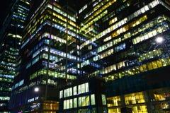 Office Windows At Night. Stock Photo