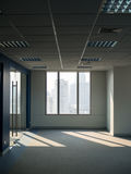 Office windows, empty work space. With building view Stock Photography