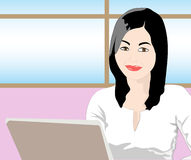 Office Woman. Working in laptop with smile Royalty Free Stock Photo