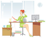 Office woman. Office illustration with woman talking by phone Stock Photography