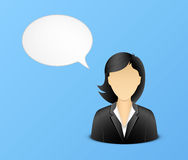 Office woman avatar with speech bubble Stock Photo