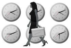Office woman clocks Royalty Free Stock Photos