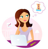 Office woman dreaming about massage Stock Image