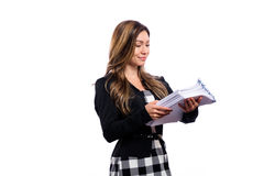 Office woman in glasses with a stack of documents Stock Photos