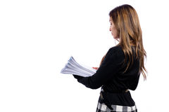 Office woman in glasses with a stack of documents Stock Photography