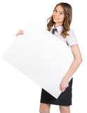 Office woman holding a large blank billboard Royalty Free Stock Photography