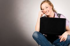 Office woman with laptop Royalty Free Stock Photography