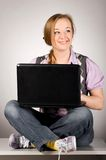 Office woman with laptop Royalty Free Stock Photo