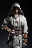 Hooded warrior with knife Royalty Free Stock Image