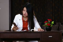 Office woman mobile phone Stock Photo