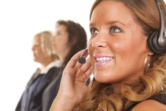 Office woman one has headset Stock Photography